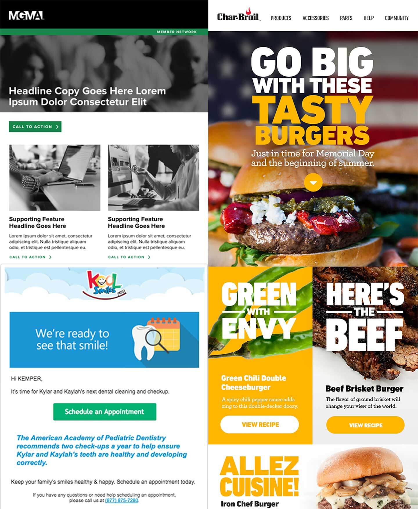 Three images consisting of MGM, Char-Broil, and Koolsmiles company home website
