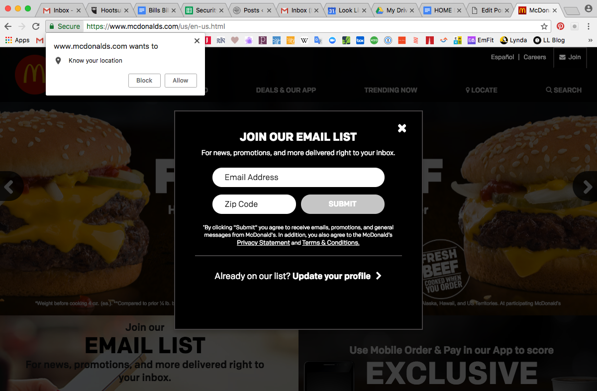 McDonalds Home Page