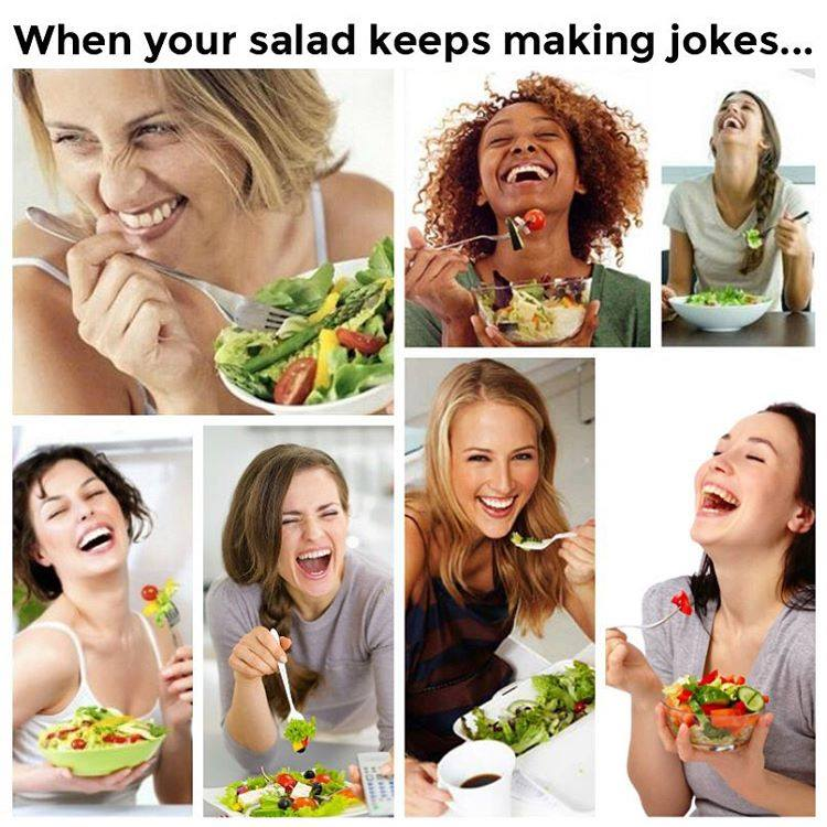 Compilation of women laughing at salad stock photos