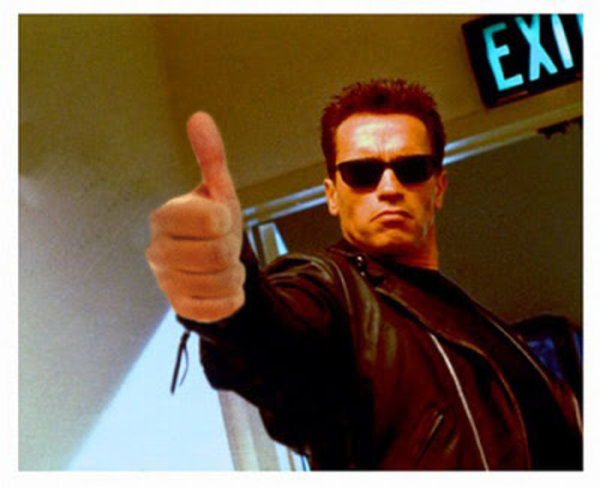 the terminator giving a thumbs up