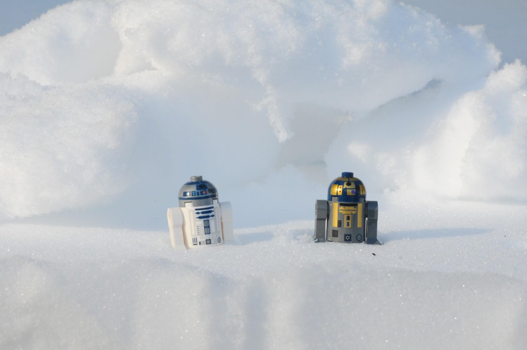 robots in the snow, representing AI winter