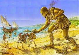 artists' rendition of Talos, automaton of Greek mythology