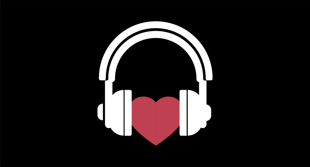heart with headphones on