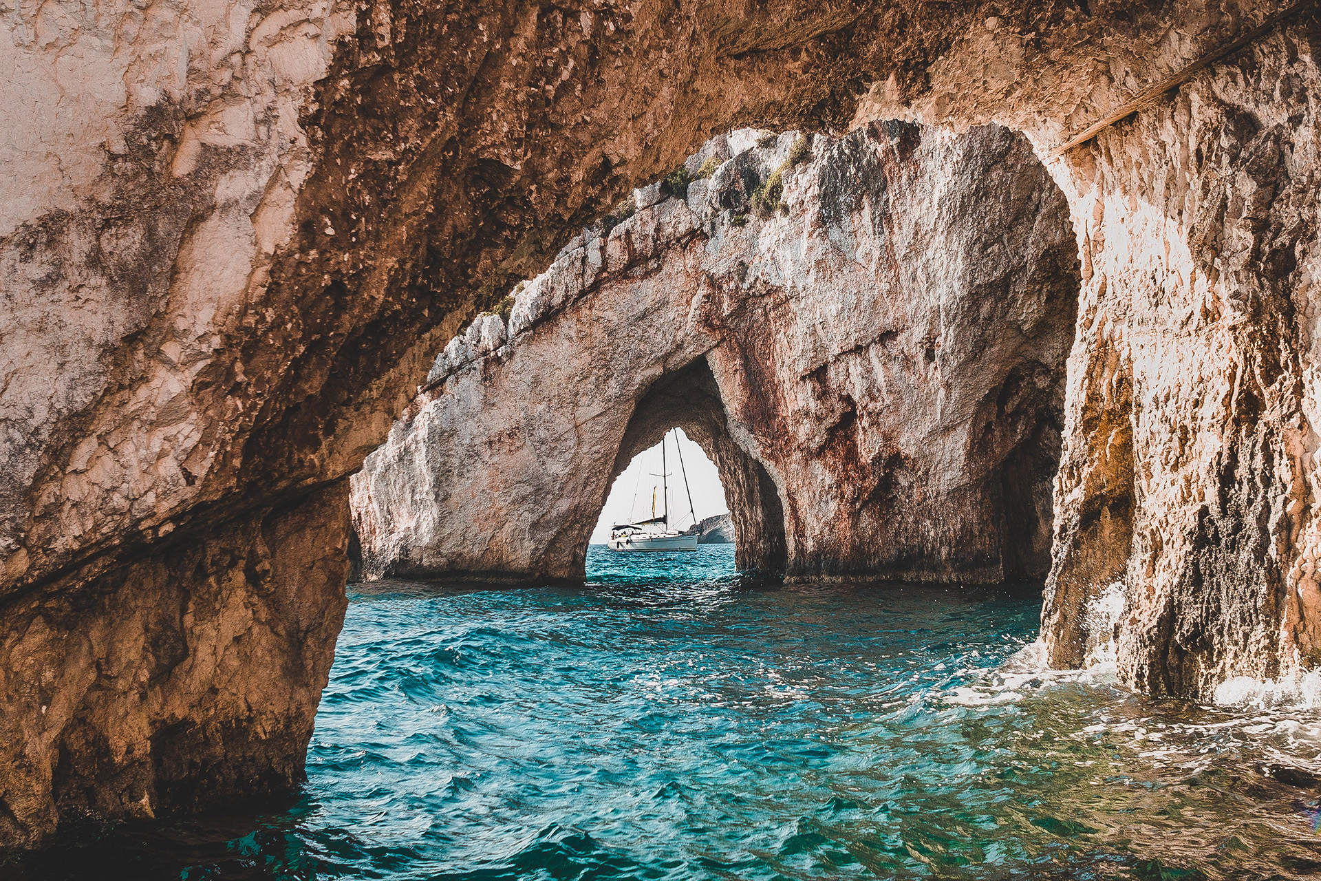 Ocean with stone archways