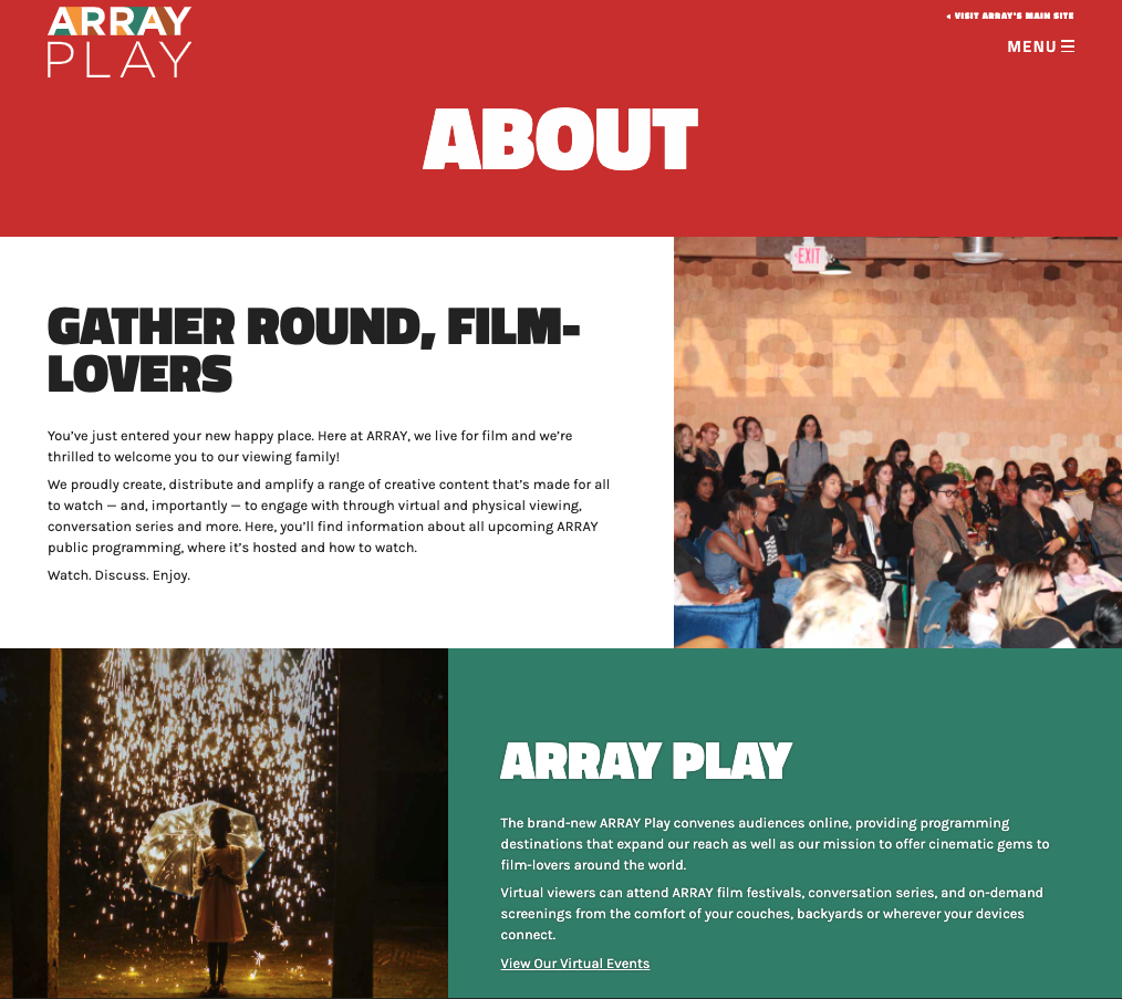 Screenshot of the ARRAYplay.com About page